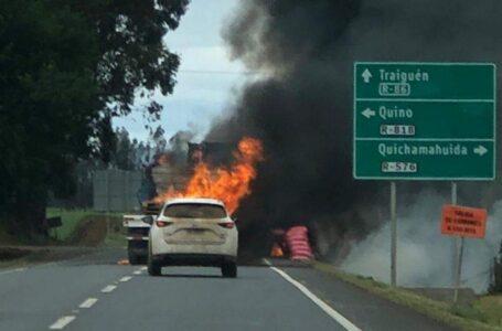 Cuatro Camiones Fueron Quemados en Ruta Victoria-Traiguén