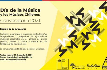 Seremi de las Culturas, Pabellón Araucanía y ARMA abren convocatoria para la celebración del Día de la Música 2021